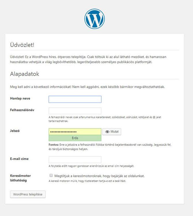 wordpress-telepítése